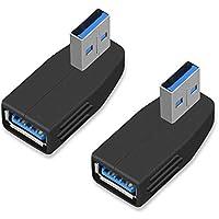 ELUTENG USB3.0 延長 直角【2個セット】 USB コネクタ L字型 オス to メス コンパクト USB 直角 90度 下向き USB3.0 5Gbps USB 変換 下位互換性 USB2.0 / USB1.1 AM to AF USB アダプタ