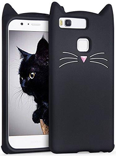IMIKOKO Huawei P10 Lite ケース 猫 ねこ シリコン みみ 純正 キャラクター ディズニー おしゃれ かわいい (Huawei P10 lite, ブラック)