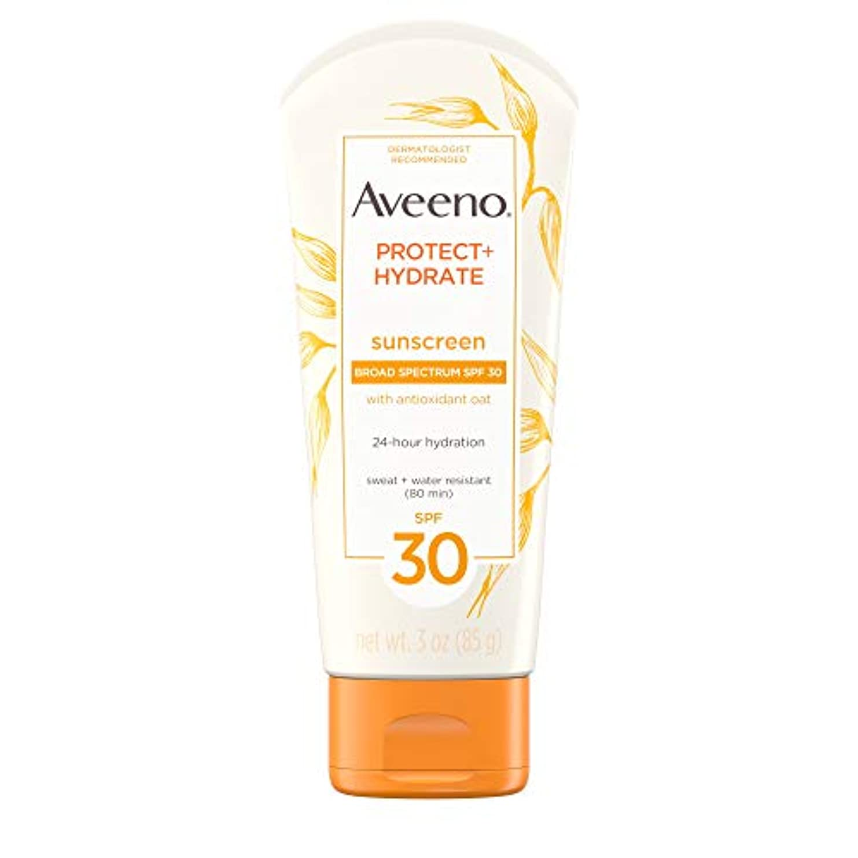 エンティティ暴露する犯すAveeno アビーノ 日焼け止め ローションSPF-30 protect+hydrate Sunscreen Lotion(平行輸入品) 85g (3Oz)