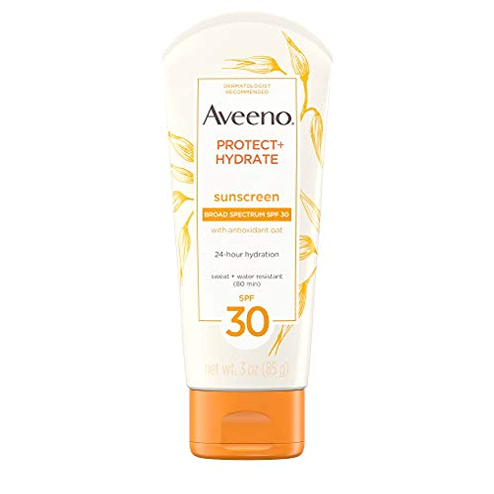 熱心クマノミ強化するAveeno アビーノ 日焼け止め ローションSPF-30 protect+hydrate Sunscreen Lotion(平行輸入品) 85g (3Oz)