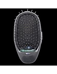 電動マッサージヘアブラシミニマイナスイオンヘアコム3Dインフレータブルコーム帯電防止ガールズヘアブラシ電池式 - ブラック