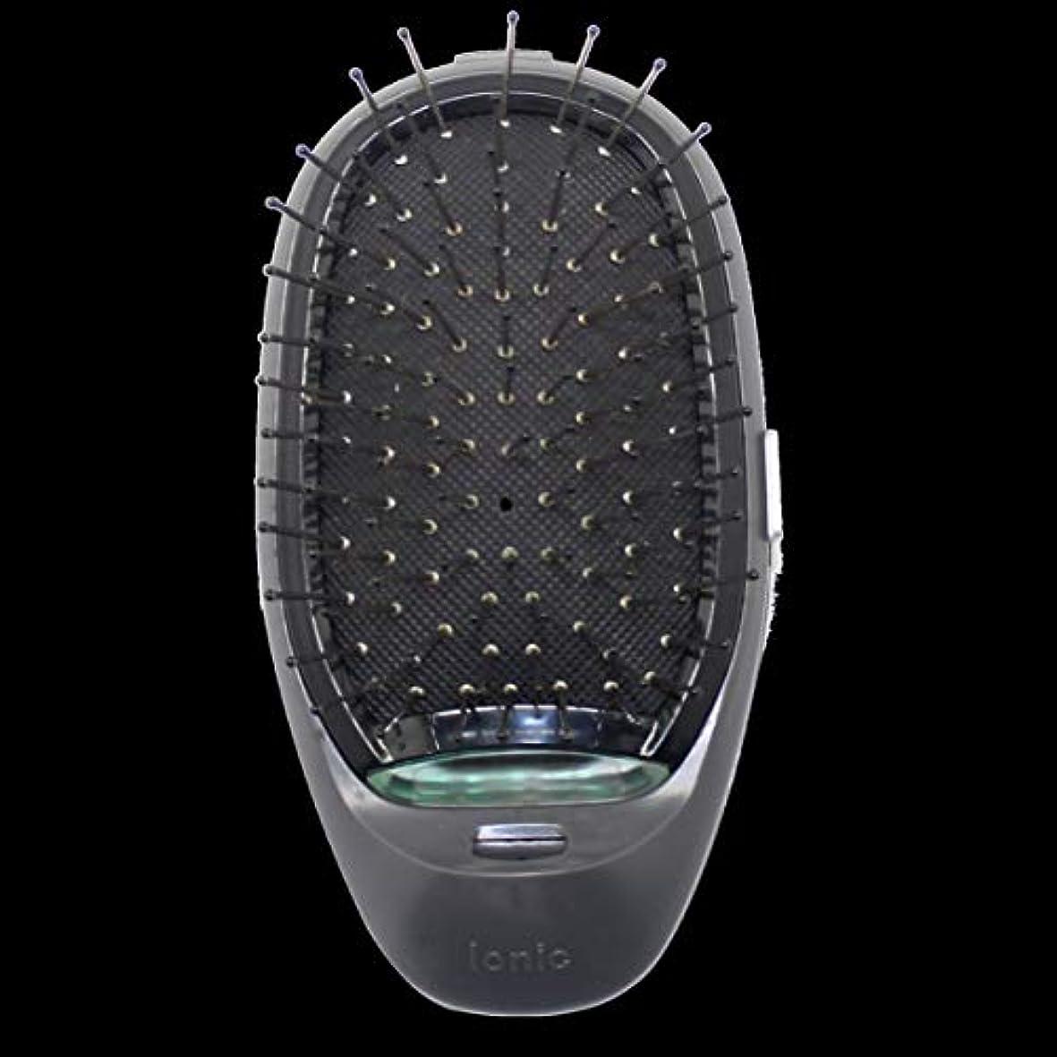 山積みの粗い支払い電動マッサージヘアブラシミニマイナスイオンヘアコム3Dインフレータブルコーム帯電防止ガールズヘアブラシ電池式 - ブラック