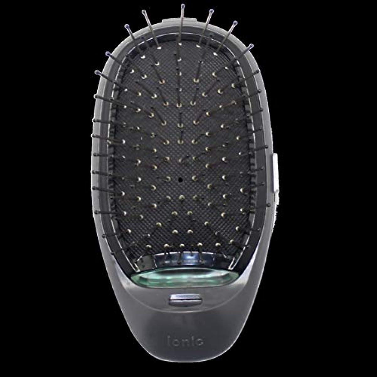 しょっぱい豊かにするフォルダ電動マッサージヘアブラシミニマイナスイオンヘアコム3Dインフレータブルコーム帯電防止ガールズヘアブラシ電池式 - ブラック