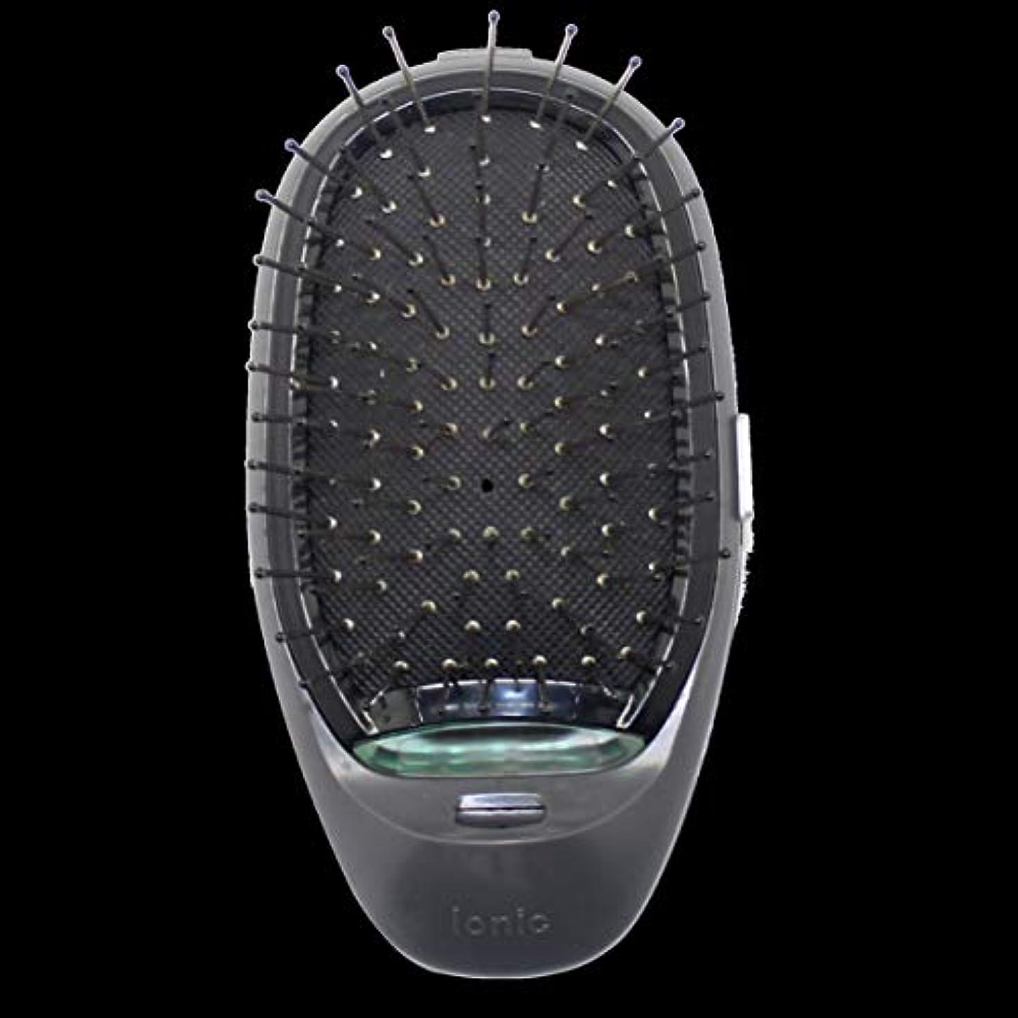 知り合い満了バッフル電動マッサージヘアブラシミニマイナスイオンヘアコム3Dインフレータブルコーム帯電防止ガールズヘアブラシ電池式 - ブラック
