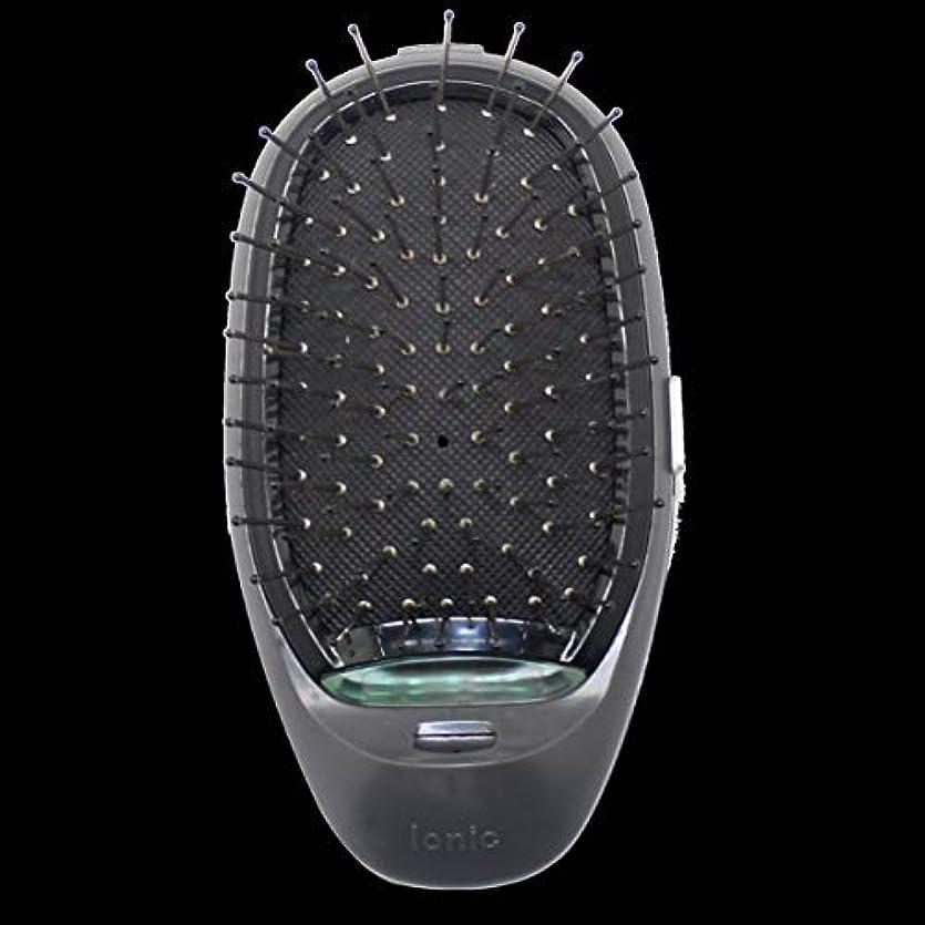 シチリア勇気のある境界電動マッサージヘアブラシミニマイナスイオンヘアコム3Dインフレータブルコーム帯電防止ガールズヘアブラシ電池式 - ブラック