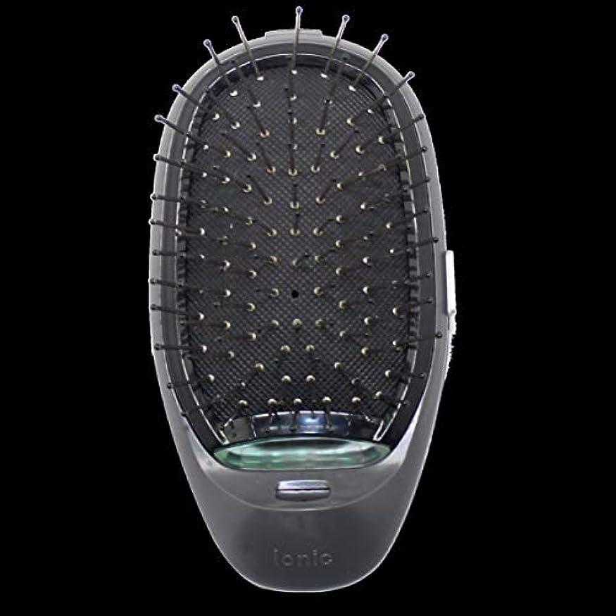まろやかなストッキング期待して電動マッサージヘアブラシミニマイナスイオンヘアコム3Dインフレータブルコーム帯電防止ガールズヘアブラシ電池式 - ブラック