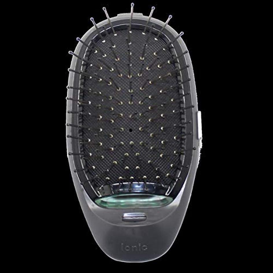 中毒達成する狂った電動マッサージヘアブラシミニマイナスイオンヘアコム3Dインフレータブルコーム帯電防止ガールズヘアブラシ電池式 - ブラック