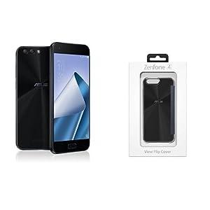 ASUS Zenfone4 SIMフリースマートフォン (ブラック/5.5インチ)【日本精機代理店品】&純正カバー View Flip Cover ブラック セット