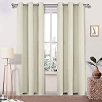 (110cm x 210cm , Beige) - DWCN Beige Blackout Curtains for Bedroom Kitchen Energy Smart Toxic Free Energy Smart Thermal Insulated Room Darkening Grommet Window drapes Curtain Panel 110cm x 210cm Long,1 Panels
