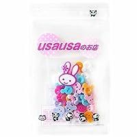 usausaのお店【アウトレット商品】カラフルマウスの形の飾り用プラスチックボタン (6色)30個セット(14mm) (041)