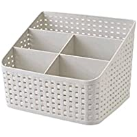 WTL かご?バスケット デスクトップ籐収納ボックス中空収納バスケットプラスチック材料 (色 : グレー, サイズ さいず : Five grid)