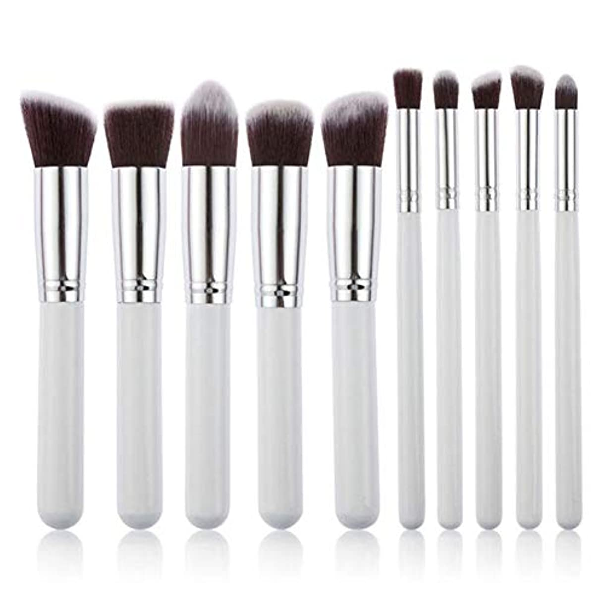 マングルトチの実の木自分を引き上げるMakeup brushes 10ピースWhiteMakeupブラシセットモダンスラックパウダーブラシアイシャドウブラシコンターブラシ suits (Color : White Silver)