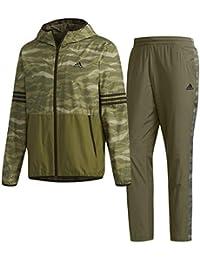アディダス(adidas) M SPORTS ID CAMOグラフィックウインドパーカー&パンツ 裏起毛 上下セット(ベースグリーン) FAT27-DH3957-FAT28-DH3960