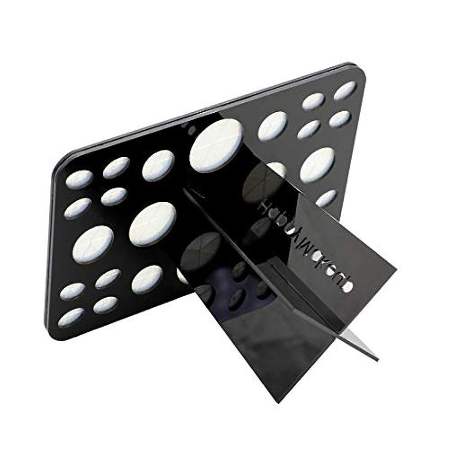 発送ハシーぬれたFIYEAH メイクブラシ立て クリーナースタンド メイクブラシホルダー 化粧ブラシ乾燥ホルダー 化粧筆を干す際に大活躍 メイクブラシ 収納 折畳み可 26ホール