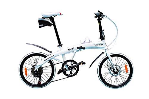 ハチコ HACHIKO 20インチ ジュラルミン 折り畳み自転車 SHIMANOシマノ7段 変速[98%完成品] (HA01) (白色)