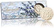 Saponificio Artigianale Fiorentino Lavender Toscana Round Sculpted Soap Set With Window, 375 Grams