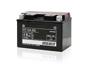 【液入れ初期補充電済み】SUPER NATTO / ST12A-BS (YT12A-BS FT12A-BS FTZ9-BS互換) バイク用バッテリー 密閉型MF( スカイウェイブ250 バンディット GSX1300R ハヤブサ バンディット1250 GSR400 ジェンマ グラディウス ) 9-BS