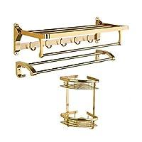 モダン タオルラックタオルレールステンレスタオル棚浴室またはキッチン用の壁に取り付けられたシャワー棚 さびない, gold