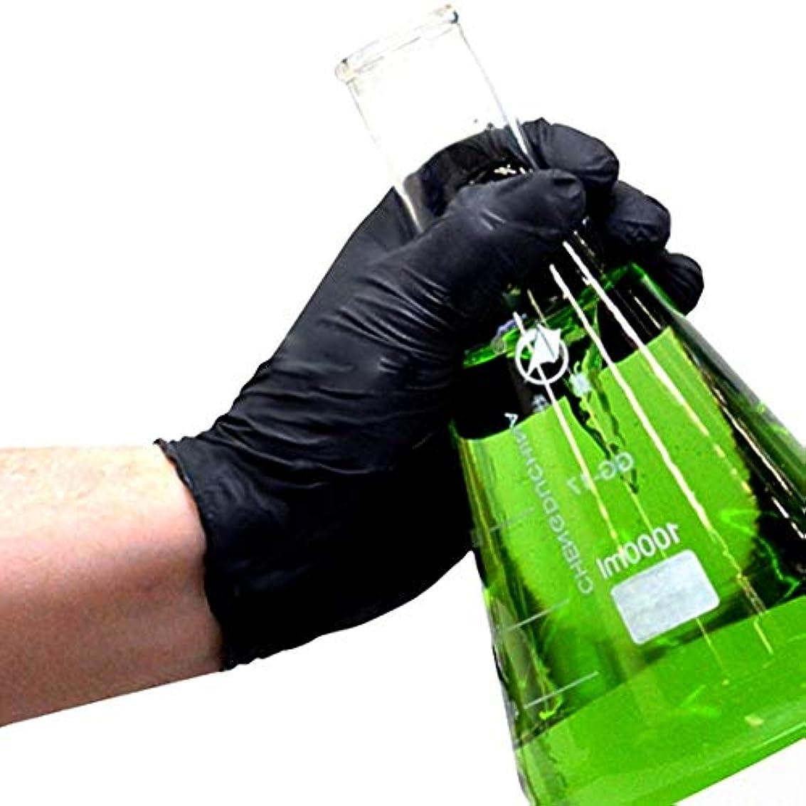 通常ポーク寛容な100ピース使い捨て黒手袋家庭用クリーニング手袋ニトリルラボネイルアートメディカルタトゥー帯電防止手袋