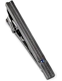 [タバラット] 日本製 ネクタイピン 真鍮製 スワロフスキー (ブラックシルバー×ブルー) Tps-032_bklu
