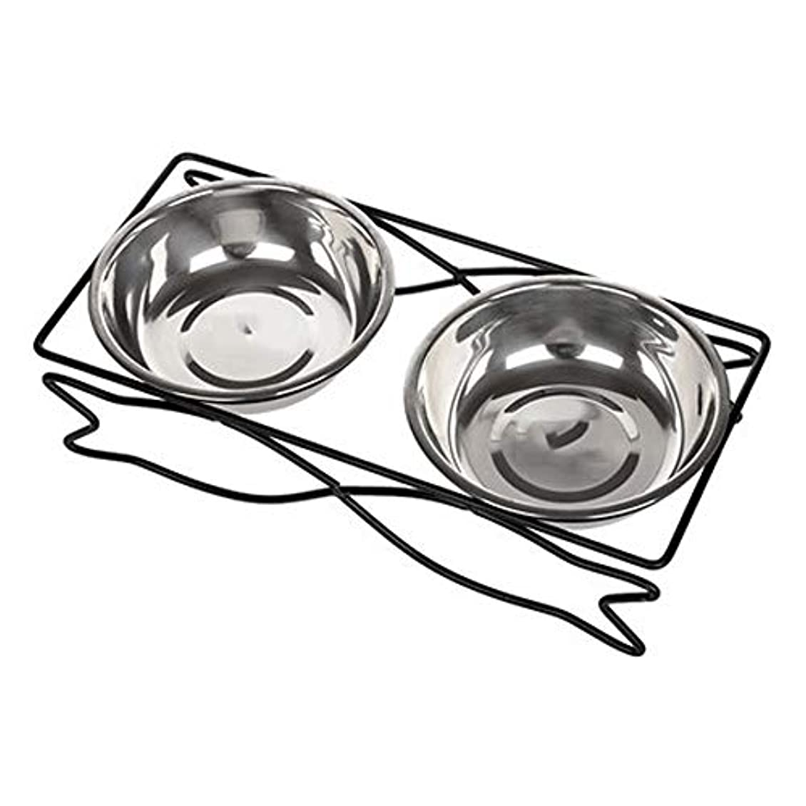 Stainless Steel Pet Bowl Non-slip Shatter-resistant Cleaning Convenient Double Bowl Removable And Washable Cleaning Large And Small Dogs Pet Supplies (色 : Stainless steel, サイズ さいず : M)
