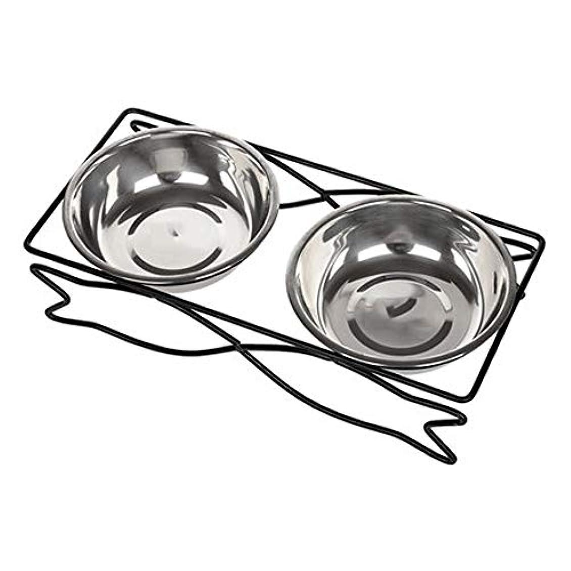 どうしたのポーチ転送Stainless Steel Pet Bowl Non-slip Shatter-resistant Cleaning Convenient Double Bowl Removable And Washable Cleaning Large And Small Dogs Pet Supplies (色 : Stainless steel, サイズ さいず : M)