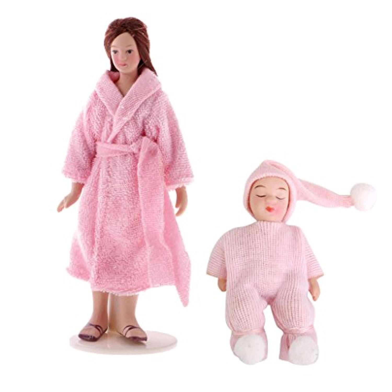 Prettyia 2点入り 1:12 スケール ミニチュア ドールハウス装飾 スリーピングベイビー 女の子人形セット おもちゃ