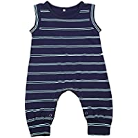 Charm Kingdom Baby Boys' Sleeveless Striped Harem Romper