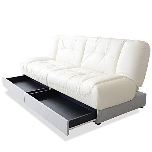 (DORIS) ソファベッド 収納 シングルサイズ 【バジーナ グレー×ホワイト】 座面下引き出し収納 3段階リクライニング (KIC)