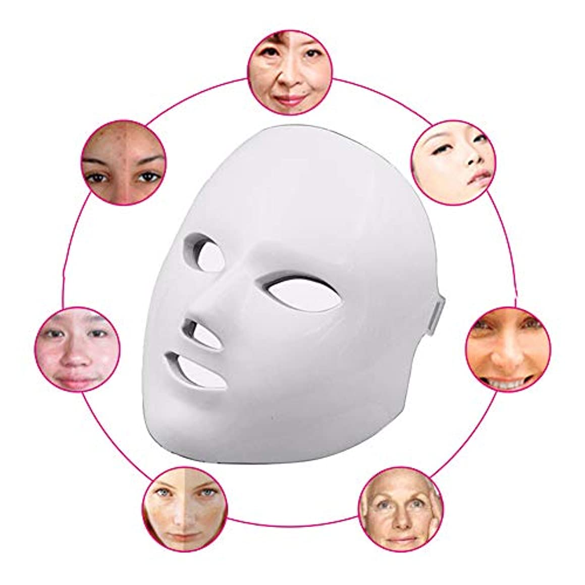 争い磁気傑出した赤色光光子治療機7色ledマスク再生PDT抗にきびしわ顔の美しさマッサージツール,White