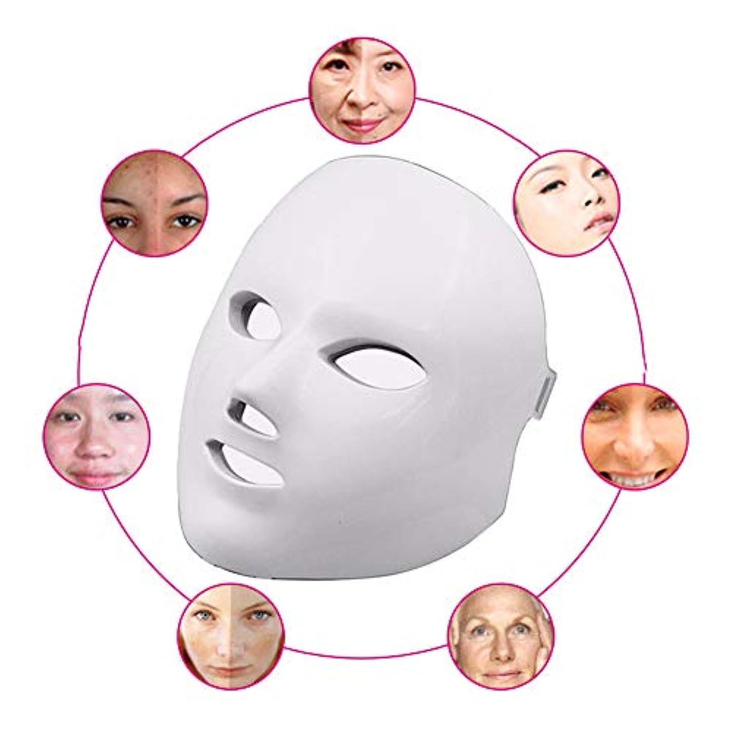 赤色光光子治療機7色ledマスク再生PDT抗にきびしわ顔の美しさマッサージツール,White