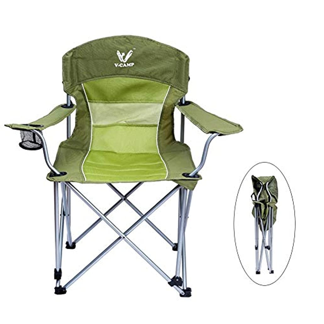 パイロットやさしく委員会アウトドアチェア コップのホールダーが付いているキャンプ用椅子の高い背部サポート、折る屋外の頑丈な釣りの椅子は、220ポンドをサポートします