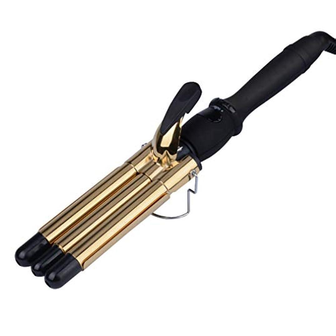 落ち着く談話が欲しいウェーブアイロン 3連バレル 19mm アイロン 80℃~230℃プロ仕様 ヘアアイロン トリプルウェーバー 海外対応 ゴールド
