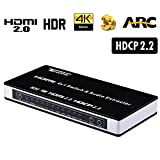 Tendak HDMI切替器 セレクター 音声分離 Ultra HD 4K@60Hz HDCP 2.2 ARC 3D 4入力1 出力HDMI 2.0 セレクターOptical Toslink L/R Audio Extractor,PS4, Xbox One, Blu-ray DVD, Virgin box対応 IRリモコン付き