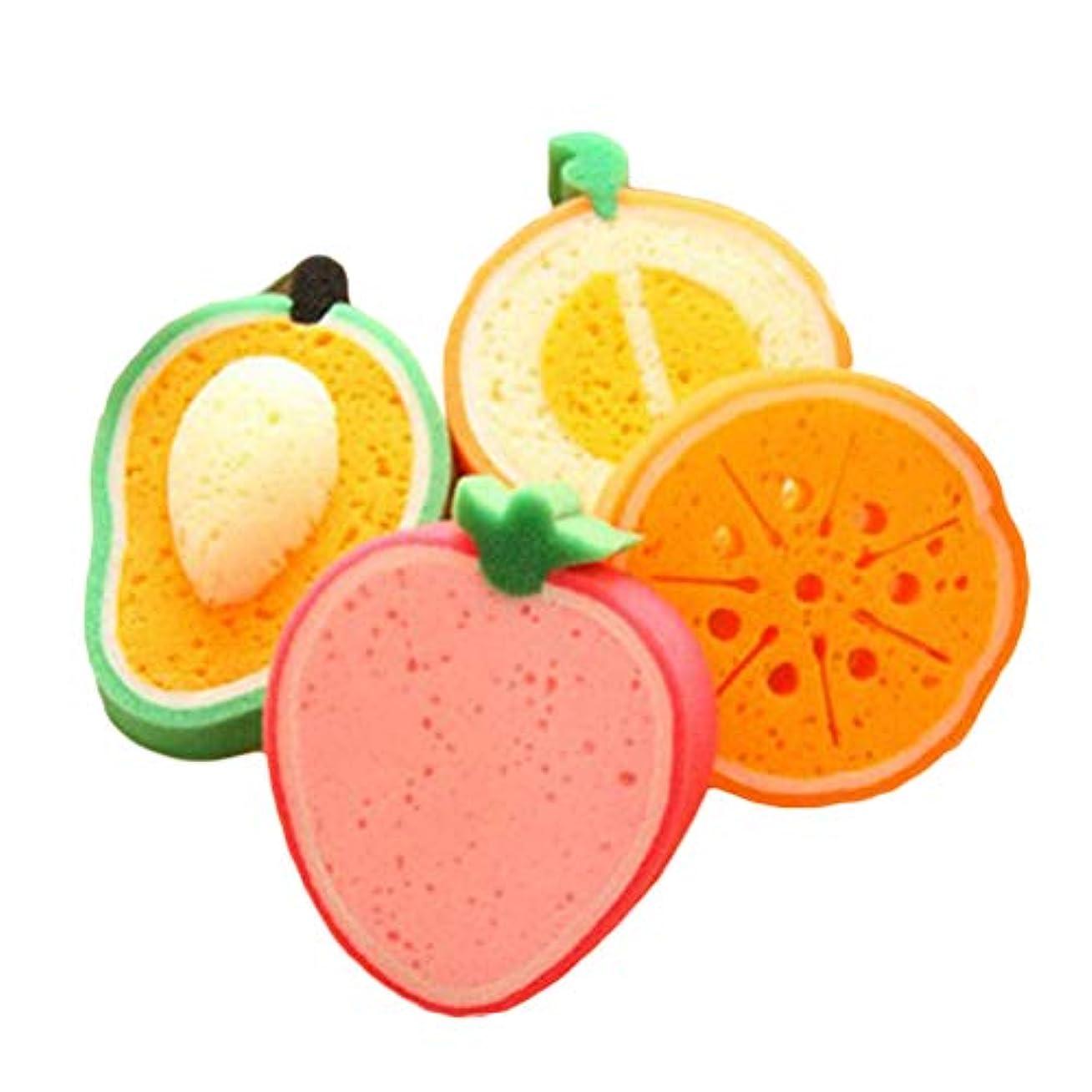 きちんとしたところで割れ目ROSENICE 子供のためのフルーツの形のバススポンジバスブラシ4個