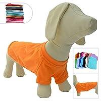 ペットTシャツ衣類ダックスフント柯基犬100%コットンコスチュームパピー犬の服ブランクTシャツ大きなミディアム小型犬のTシャツ Orange D-S
