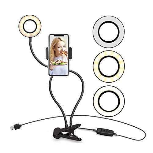 自撮り LED リングライト クリップライト 自撮りライト スマホスタンド付き 携帯スタンド 高度調節 360度回転可 10段階調光3モード調色 USB式 Tik Tok YouTubeビデオ 生放送 ライブなど適用 全機種対応