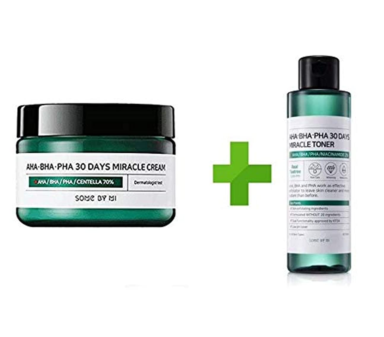 パン屋時期尚早哲学的Somebymi AHA BHA PHA Miracle Cream (50ml + Toner 150ml)Skin Barrier & Recovery, Soothing with Tea Tree 10,000ppm...