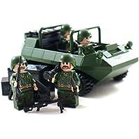 軍ATVトループキャリアおよび兵士ミニフィギュア - 軍事ビルディングブロック玩具