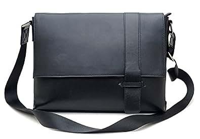 BAIGIO ショルダーバッグ メンズ 本革 レザー 13PC/A4対応 斜め掛けバッグ 書類鞄 ギフト プレゼント ブラック色