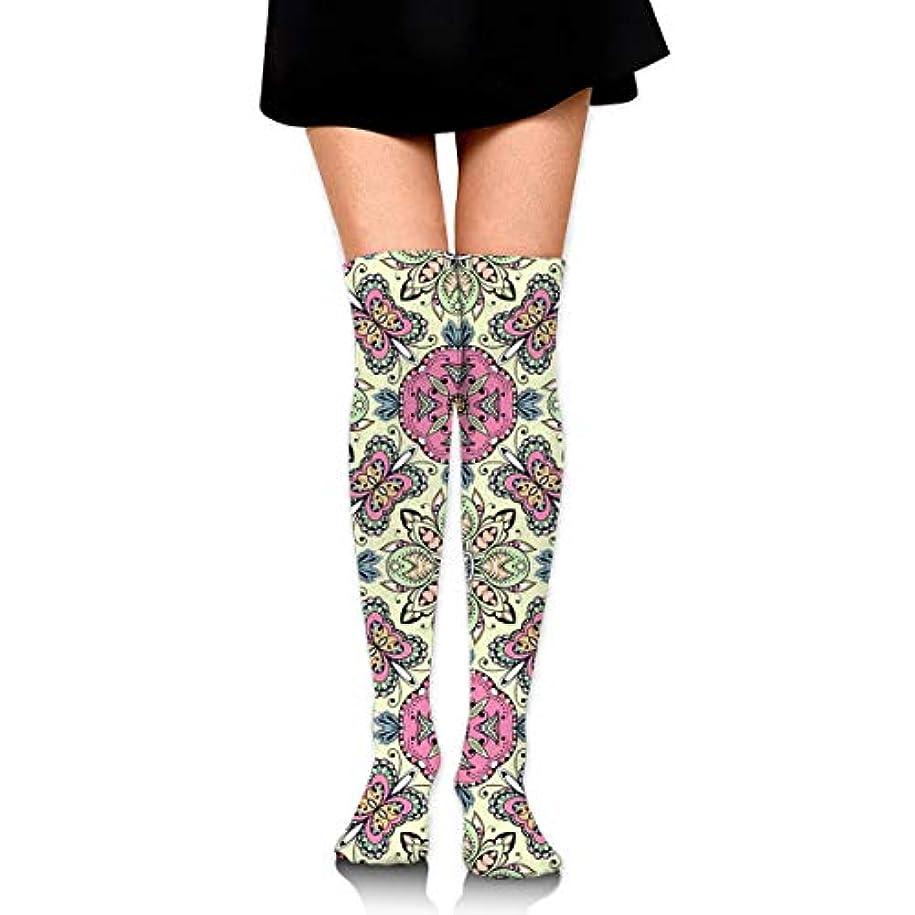 家ドラフトメイエラMKLOS 通気性 圧縮ソックス Breathable Thigh High Socks Over Exotic Psychedelic Print Compression High Tube Thigh Boot Stockings...