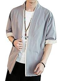 夏服 メンズ 和式パーカー 五分袖 カーディガン コート 無地 和風 羽織 一つボタン シンプル トップス ゆったり カジュアル おしゃれ 大きいサイズ