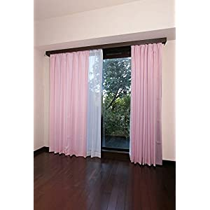 【全12種】セット ドレープカーテン×2枚 レースカーテン×2枚 4枚組 UVカット 洗える 幅100cm×丈200cm 4枚組 ピンク