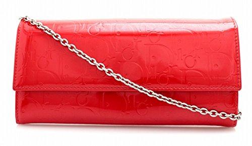 [クリスチャン ディオール] Christian Dior レディディオール トロッター チェーンウォレット エナメル レザー 2つ折長財布 レッド 赤 MC0099