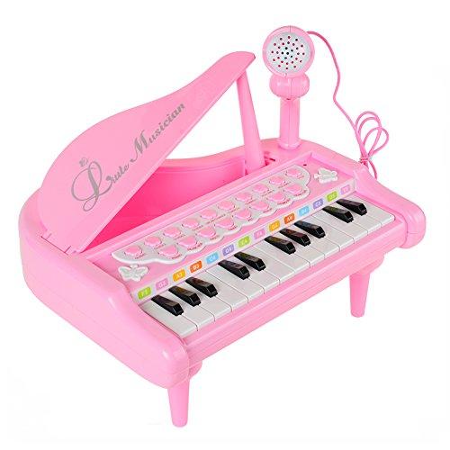 RASTAR キッズ 可愛いピアノおもちゃ 電子ミニピアノ 音楽おもちゃ キズキーボード 電子ミニキーボード 多機能音楽玩具 子供ピアノ 赤ちゃんピアノ オモチャのピアノ 知育玩具 誕生日 子供の日 鯉のぼり クリスマス プレゼント (ピンク)