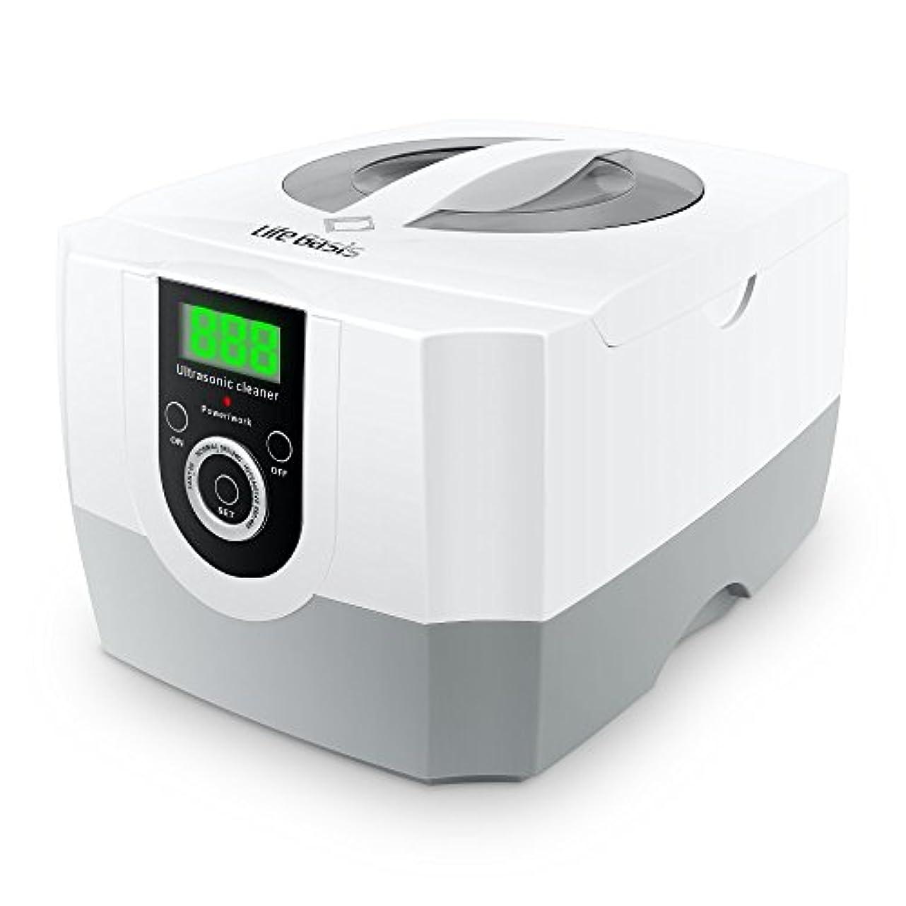 栄養用心LifeBasis 超音波洗浄機 小型業務用 1秒間42,000Hz回振動数 1400ml超大容量 パワフル70W 超音波クリーナー 5段階タイマー設定可能 デジタルLED時間表示 観察ランプ付き アクセサリー リング...