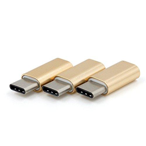 BRUSMO 3個セット USBタイプC 変換アダプタ 急速充電 (ゴルド)