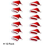 12 Pack Non-woven cloth Santa Hat-Christmas Classic Hat for adult (Red & White)