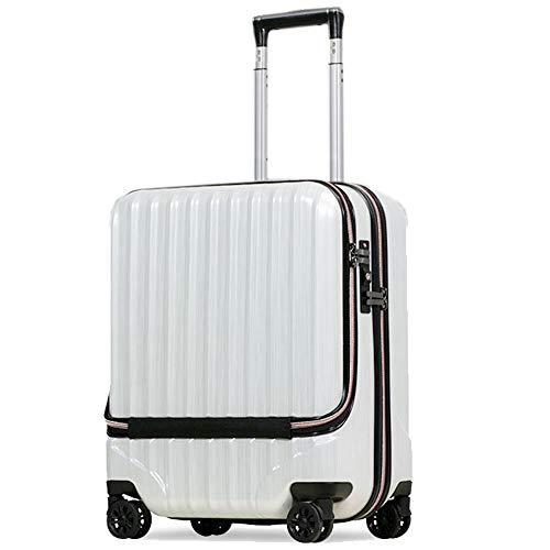 スーツケース 機内持込 MAX 40l 軽量 小型 フロントオープン ダブルファスナー 8輪 S 【W-Receipt】 キャリーケース キャリーバッグ 前ポケット (S-40L-スクラッチ/シャンパン)