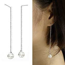 (ネオグロリー)Neoglory Jewelry レディース パール 真珠 女性 ホワイトゴールド チェーン 揺れる ロングビアス ジュエリー アクセサリー